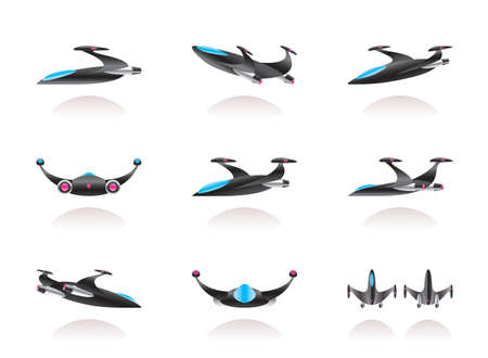 Spaceship in different perspective - vector illustration.