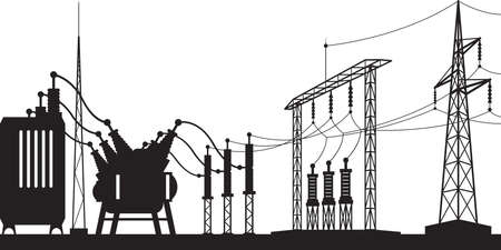 Power grid substation - vector illustration Stock Illustratie