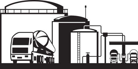 Distribution oil depot - vector illustration 免版税图像 - 97951486