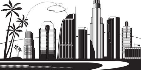 Los Angeles silhouette by day vector illustration. 일러스트