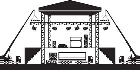 Building of musical stage  vector illustration