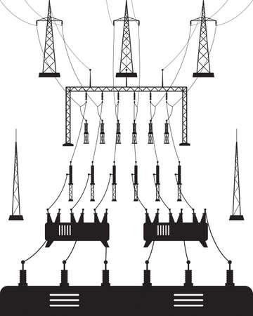 Power grid substation - vector illustration Stock Illustratie