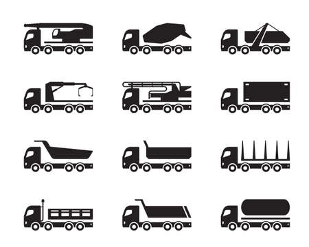 Different construction trucks - vector illustration Stock Illustratie