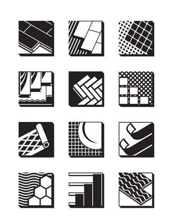 Decorative flooring icon set - vector illustration
