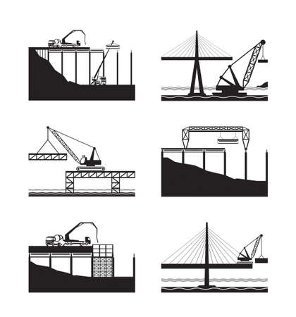Construction of different bridges - vector illustration