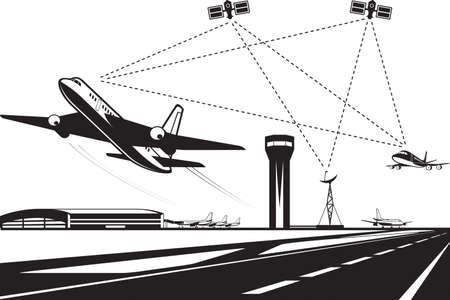 Air traffic management - vector illustration