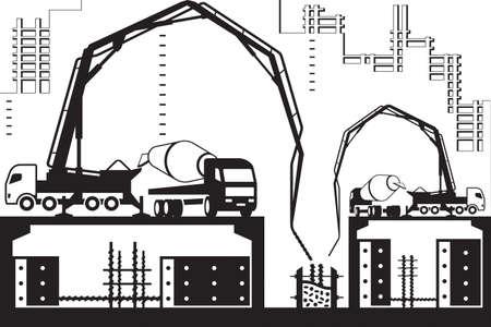 Betonpomp vrachtwagens op de bouwplaats