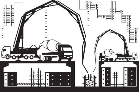Concrete pump trucks on construction site Illustration