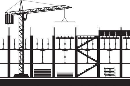 Construction of scaffolding for concrete slab Çizim