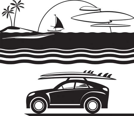 Car with surfboards on the beach - vector illustration