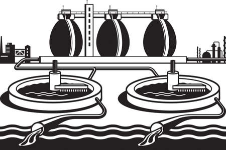 Local water treatment plant - vector illustration