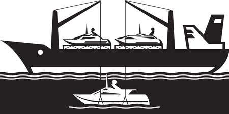 Freight carrier ship loading yacht - vector illustration Ilustracja