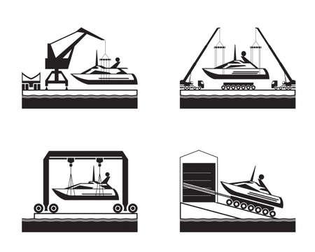 Yacht launch on water - vector illustration Ilustracja