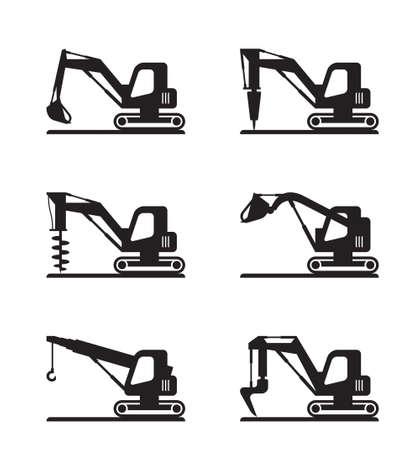 Mini-Baumaschinen - Vektorillustration