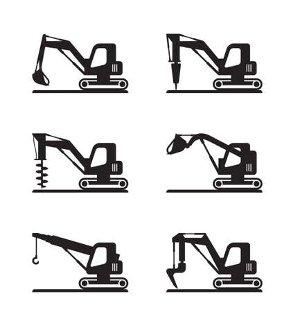Mini construction machinery - vector illustration