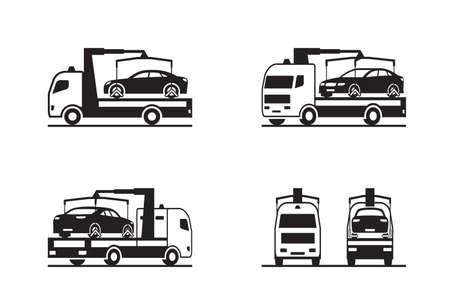 Roadside assistance truck with car - vector illustration