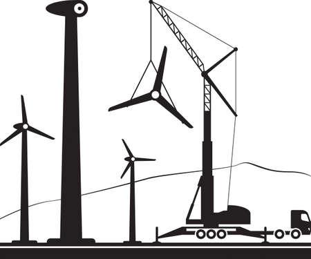 Mobile crane installing wind turbine in the field Standard-Bild - 107016369