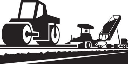 Laying an asphalt pavement on a road Illustration