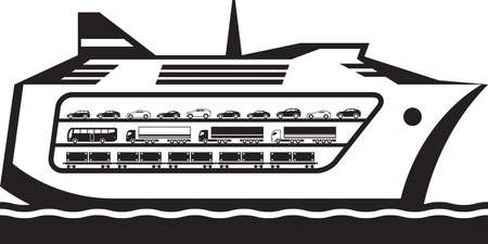 Ferry boat transports vehicles across the sea