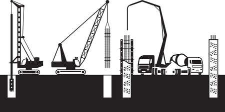 Les machines de construction font les fondations du bâtiment