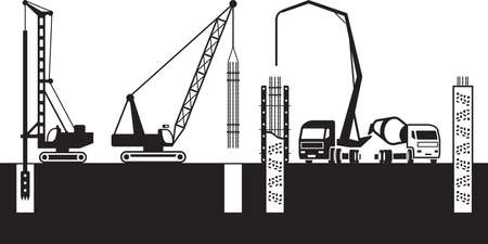 Construction machinery make foundations of building Illustration