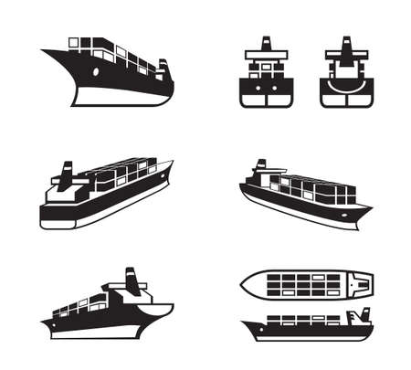 Cargo ship in different perspective - vector illustration