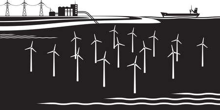 Offshore wind turbines farm - vector illustration