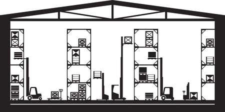 Warehouse machinery equipment - vector illustration