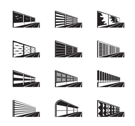 Barrières antibruit sur autoroute - illustration vectorielle
