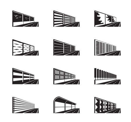 Noise barriers on highway - vector illustration