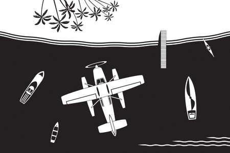 Hydravion volant à l'île de la mer - illustration vectorielle