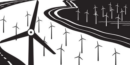 Wind turbines on land and at sea - vector illustration