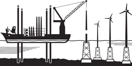 Installation vessel build wind farm in the sea  イラスト・ベクター素材