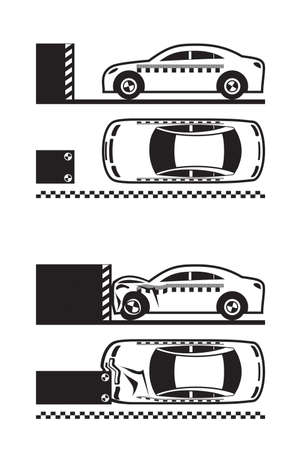 Car crash test - vector illustration