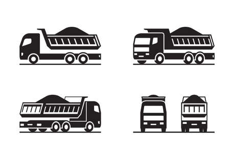 Dump truck in different perspective - vector illustration 矢量图像