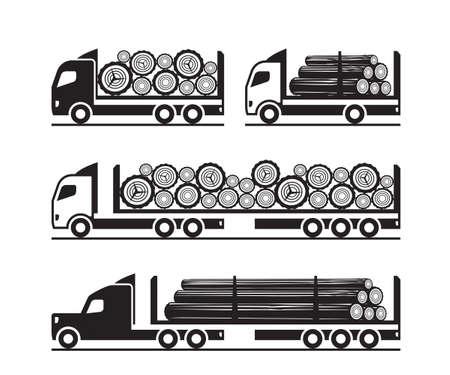 Trucks for  transport of wooden logs Imagens - 132774858