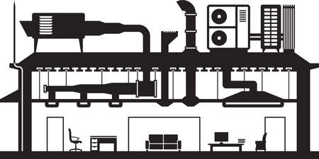 Central air conditioning system for building Illustration