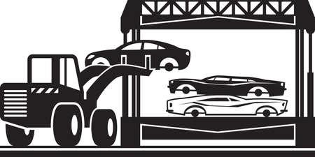 Loader fills car crusher for scrap - vector illustration Vectores