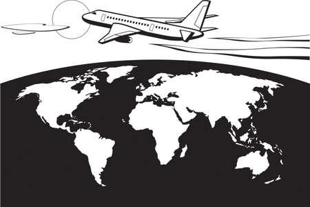 Passenger airplane flying around the world Illusztráció