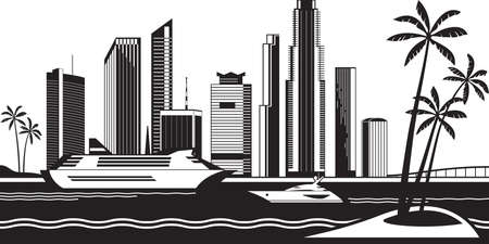 View of Miami from the sea - vector illustration