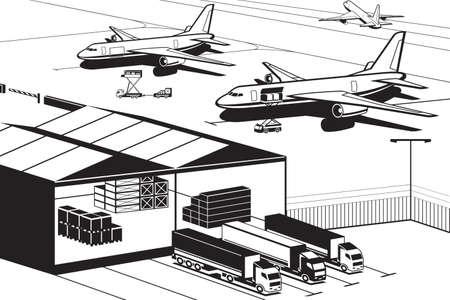 Cargo terminal at airport - vector illustration