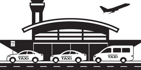 Taxi service to and from airport - vector illustration Ilustrace