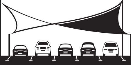 Covered car parking shed - vector illustration