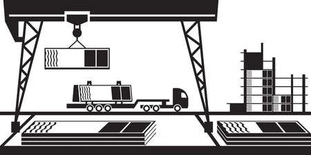 Assembly and transportation of curtain walls of building - vector illustration Illusztráció