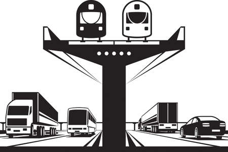 Railway flyover above the highway - vector illustration