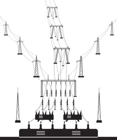 Electrical power grid substation - vector illustration