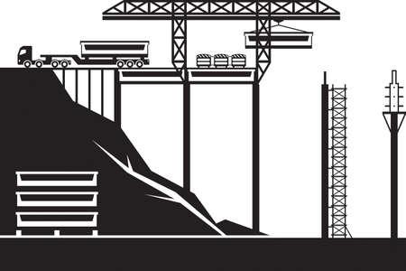 Construction of bridge on highway - vector illustration