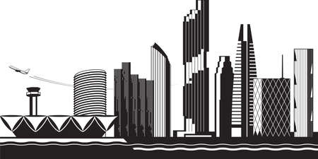 Bangkok cityscape by day - vector illustration
