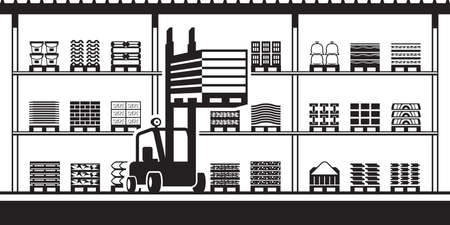 Forklift moves pallets in stock for building materials