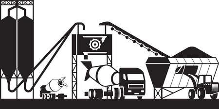 Betonmischanlage - Vektorillustration Vektorgrafik